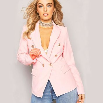 2017 Autumn Womens Jacket Pink Deep V Neck Long Sleeve Double Breasted Gold Button Front Military Style Coat Jacket