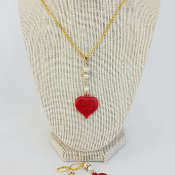 Re Purposed Red Plastic Heart Charm Pearl Rondelle Necklace Earrings Set Gold Tone 3Piece Set I Love You