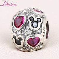Pave Heart and mickey head 100% 925 Sterling Silver cubic zirconia charm Bead Fit Pandora Bracelet