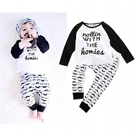 Popular New Style Cute Newborn 2 3 4T Bodysuit T-shirt Pants Boys Baby Kids Clothes Outfits Set