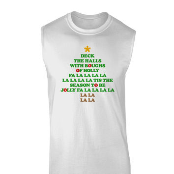 Deck the Halls Lyrics Christmas Tree Muscle Shirt