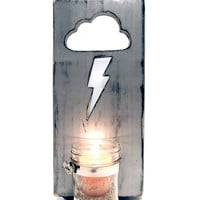 Mason Jar Vase/Candle holder Lightning Bolt Cloud Design, Wall Deco, Home Decor