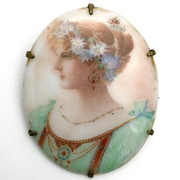 Art Nouveau Woman Portrait Brooch, Art Nouveau, 1895 to 1920s
