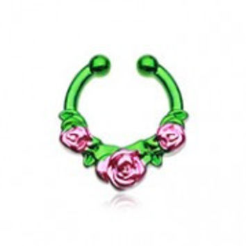 Colorline Rose Garden Icon Fake Septum Clip-On Ring