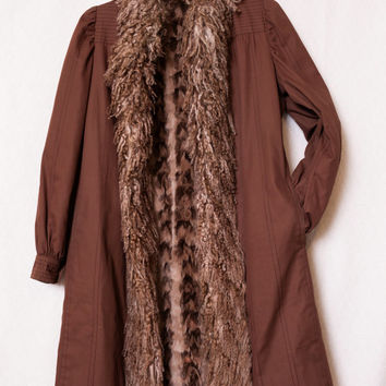 FENDI Brown Sheep Fur Trench Coat, Ultra Soft Mink Fur Jacket, Authentic FENDI Women's Fur Coat, Size 6-8 Womens