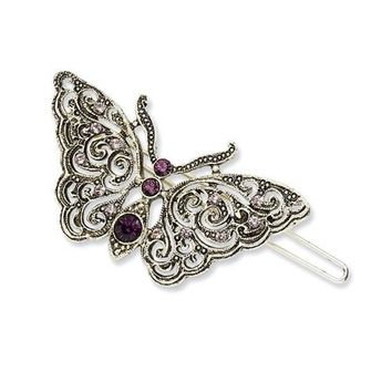 Silver-Tone Light & Dark Purple Crystal Butterfly Hair Barrette Clip