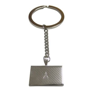 Silver Toned Etched Morocco Flag Pendant Keychain