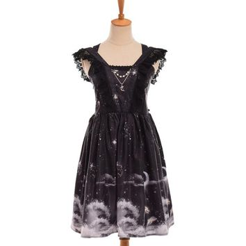 Girls Summer Cute Dress Pink/Black Ruffles Suspender Shoulder Off Lolita Dress