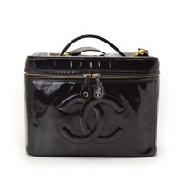 Authentic Chanel Women's Leather Vanity Bag Black 806500005348000