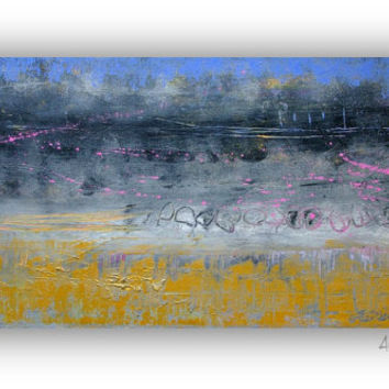 Abstract Landscape Painting - Gold Modern Wall Art 15x30 Gallery Canvas.