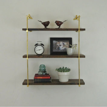 Brass Wall Mounted Triple Shelf