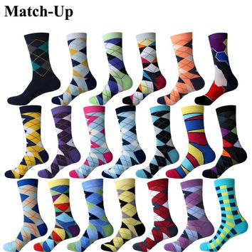 Match-Up Colorful ARGYLE SOCK fun men's Cotton Socks Wedding Gift Socks Free shipping US size(7.5-12)