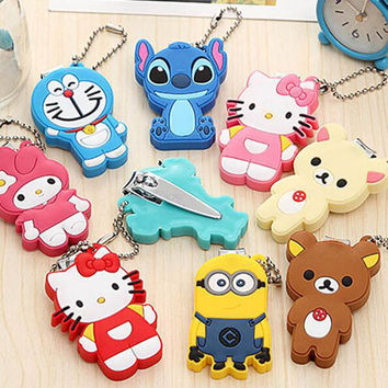 Cartoon Baby Nail Clipper Cute Infant Finger Trimmer Scissors Baby Nail Care with Hanging