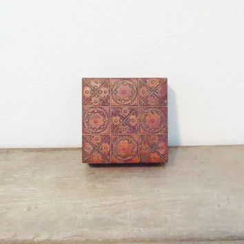 Carved Wood Box / Vintage Wood Box / India Wood Box / Jewelry Box / Wood Ring Box / VIntage Jewelry Box