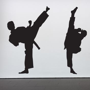Vinyl Wall Decal Sticker Dual Karate High Kick 6ft Tall #352