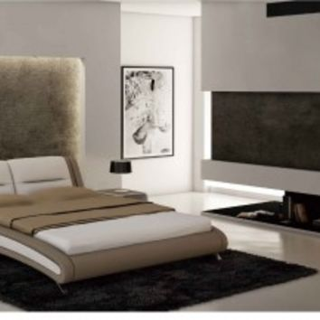 Beige / White 2110 Bed by ESF Furniture - Opulentitems.com
