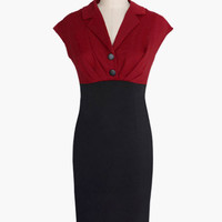 Red and Black Notched Collar Cap Sleeve Bodycon Dress