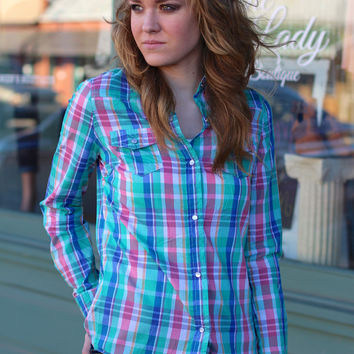 Pretty in Plaid Button Down {Mint Mix}