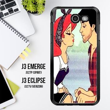 Ariel And Erick Punk Kiss Disney Princess V1430 Samsung Galaxy J3 Emerge, J3 Eclipse , Amp Prime 2, Express Prime 2 2017 SM J327 Case