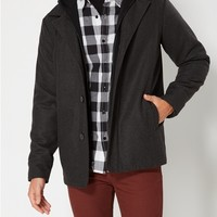 Charcoal Gray Hooded Wool Blend Coat