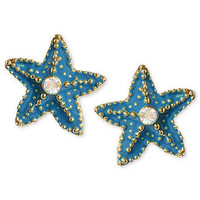 Betsey Johnson Earrings, Gold-Tone Turquoise-Colored Starfish Stud Earrings - All Fashion Jewelry - Jewelry & Watches - Macy's