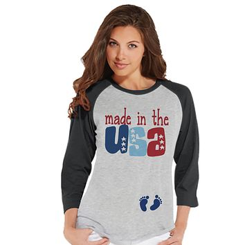Women's 4th of July Shirt - Made in the USA Pregnancy Announcement - July Pregnancy Reveal - Grey Baseball Tee - Patriotic Pregnancy Shirt
