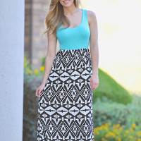 Can You Keep a Secret Maxi Dress - Aqua