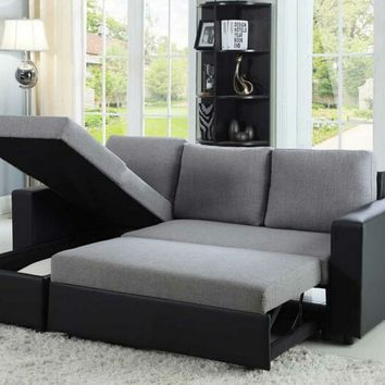2 pc Everly collection contemporary style grey fabric / black vinyl upholstered sleeper sectional sofa