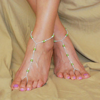 Light Green Hand Beaded Barefoot Sandals, Beach Sandals, Beach Wedding, Bottomless Sandals, Foot Jewelry, Anklet, Accessory, Toe Ring
