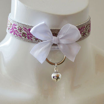Kitten play collar - Palace kitten - bdsm proof ddlg princess white pink and gold kink choker with bell and leash ring - neko costume