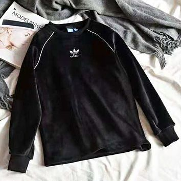 Adidas Autumn And Winter New Fashion Bust Embroidery Letter Leaf Keep Warm Long Sleeve Sweater Top Black