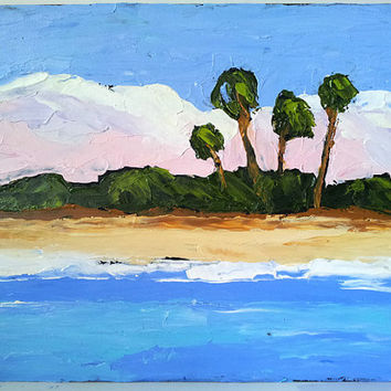 Impressionist Plein Air Landscape Painting Florida Gulf WHITE SAND BEACH  Lynne French Art 8x10 Free Shipping