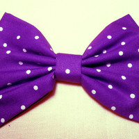 Purple / Small Polka Dots Hair Bow, Girls Hair Bow, Fabric Hair Bow
