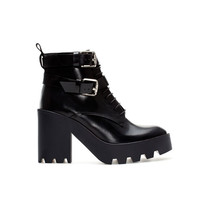 LEATHER TRACK ANKLE BOOT - Shoes - Woman | ZARA United States
