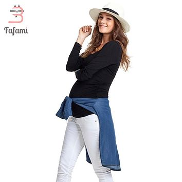 Maternity Clothes Tees Lycra pregnancy nursing clothes Plus size T shirt for pregnant women bts solid tshirt clothing winter