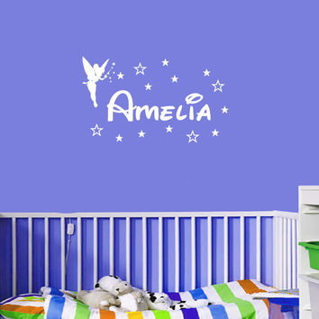 Personalized Fairies Tinkerbell Custom Name Wall Art Vinyl Wall Quote Home Decals Kids Room Decoration Children Wall Stickers