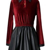 Wine Red Velvet Dress with Faux Leather Skirt - New Arrivals - Retro, Indie and Unique Fashion