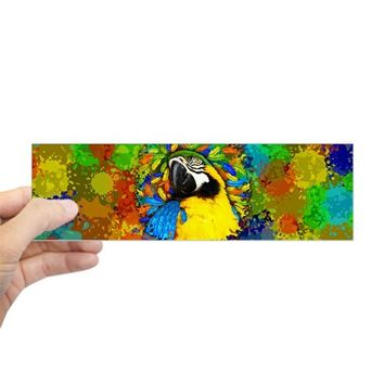 GOLD AND BLUE MACAW PARROT FANTASY BUMPER BUMPER STICKER