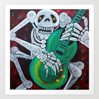 Skeleton Guitarist Art Print by Laura Barbosa Art