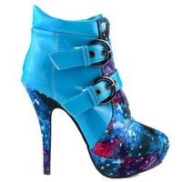 Show Story Blue Buckle Night Sky High Heel Stiletto Platform Ankle Boots,LF30301BU35,4US,Blue