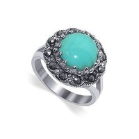 Nickel Free Sterling Silver Round Shaped Reconstituted Turquoise Marcasite Band Polished Finished Ring Size 10