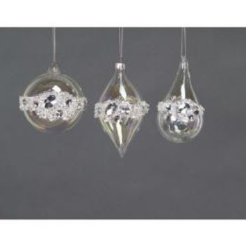 12 Christmas Ornaments - Clear Jeweled Glass