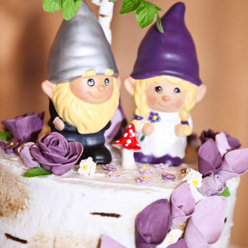 Gnome Wedding Cake Topper... The Gnomelyweds  Wedding gnomes Custom painted  .Custom Order just for you