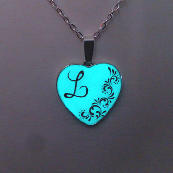 Aqua Glow in the Dark Necklace, Personalized Glowing Jewelry, Glow Pendant, Glowing heart, Hand painted, Gift for Her, Gift ideas