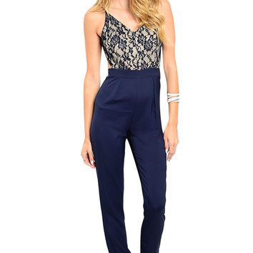 Dressy Sleeveless Slim Fit Jumpsuit W/ Open Back