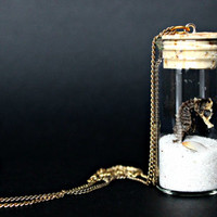 Seahorse In a Jar Necklace, Sand - Jewelry // Stormy