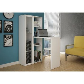 Manhattan Comfort Asti Smart Writing Desk with 6 Shelves in White