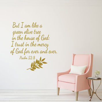 Wall Decals Psalm 52 8 But I am like a green olive tree in the house of God Bible Verse Wall Art Quote Vinyl Sticker Bedroom Home Decor T170