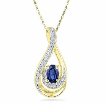 10kt Yellow Gold Women's Oval Lab-Created Blue Sapphire Solitaire Diamond Pendant .02 Cttw - FREE Shipping (US/CAN)