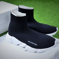 Balenciaga Speed Stretch Knit Mid Sneakers Black / White Socks Shoes - Best Online Sale